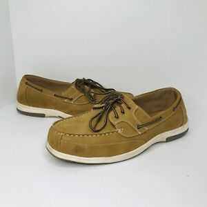 Deer Stags Mitch Slip On Boat Shoes Tan Leather Loafers Men's Size 16 Wide