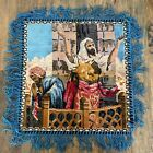 """Vintage Religious Tapestry 17"""" x 16.25"""" Christianity Judaism Arabic"""