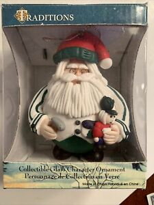 Chubby Santa Claus Toy Maker Glass Ornament Traditions Collection