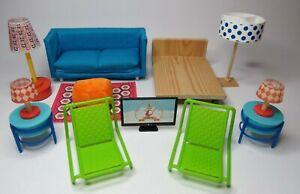 Modern Djeco Dolls House Bedroom & Living Room Furniture & Lights