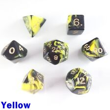 Oblivion Poly 7 Dice RPG Set Yellow Black Pathfinder 5e D&D Dungeons Dragons DND