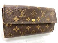 Auth Louis Vuitton Monogram Browns Portefeuille Sarah Long Wallet LV 59419282