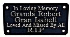 BENCH MEMORIAL PLAQUE GRAVE MARKER SIGN ENGRAVED WITH ANY WORDING YOU WISH