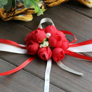 Wedding Wrist Pearl Corsage Bracelet Bridal Bridesmaid Hand Wrist Flowers