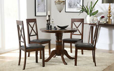 Kingston Round Dark Wood Dining Table & 4 Kendal Chairs Set - Brown Seat Pad