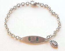 UNIVERSITY OREGON DUCKS * Stainless Steel ID Bracelet w/CZ Dangle * NCAA Jewelry