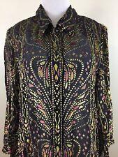 Bob Mackie Womens Large Black Multi-Color Velvour Print Silk Blend Button Shirt