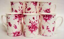 Eden Ruby Mugs Set of Six Fine Bone China Eden Mugs Hand Decorated in the UK
