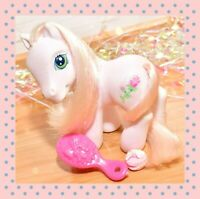 ❤️My Little Pony G3 Vtg 2004 Desert Rose Sparkle Pony White Pink Rose Tinsel❤️