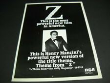 HENRY MANCINI Most Powerful New Film In America Is Z 1970 Promo Poster Ad