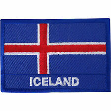 Iceland Flag Embroidered Iron / Sew On Patch Reykjavik Clothes Embroidery Badge