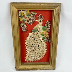 Vintage Mid Century Shell Art Peacock On Red Velvet Wall Hanging Tiki MCM