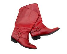 Vintage Italian Made Red Leather Harness Boots by Marc Alpert Maria Pia Sz 7.5