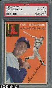 """1954 Topps SETBREAK #1 Ted Williams Boston Red Sox HOF PSA 8 """" LOOKS MINT """""""