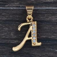 Fashion Women Gold Plated CZ English Alphabet Capital Letters A-Z Name Pendant