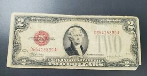 1928 F $2 United States Note Red Seal VERY Circulated Condition E Block