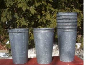 9 Great GALVANIZED Maple Syrup Sap Buckets TAPERED w/ DOUBLE RIM
