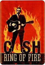 Retro Tin Metal Postcard 'JOHNNY CASH' Mini Sign 10 x 14cm 'Ring of Fire' Legend