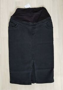 MATERNITY DENIM SKIRT size 8 black NEW LOOK casual PENCIL ladies FRONT SPLIT