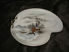 VTG Hakusan China Handled Snack Plate Made in Japan,Mint Condition