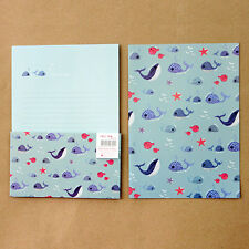 Cute Dolphin Adventure Letter set - 4sh Writing Stationery Paper 2sh Envelope