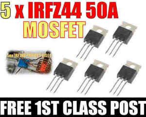 5 PCS IRFZ44N IRFZ44 MOSFET 60V 50A N-channel Power Transistor Arduino, Pi, ESP