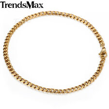 Mens Gold Silver Black Stainless Steel Chain Necklace 3-11mm Curb Cuban Link