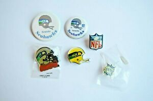 SEATTLE SEAHAWKS Lot of 5 Vintage Buttons / Pins + NFL Pin