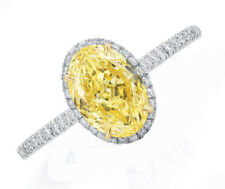 Oval Cut Diamond Engagement Ring 3.60 Carat GIA Certified Fancy Yellow Platinum