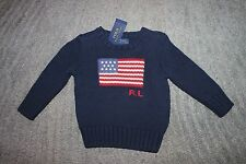 Ralph Lauren Toddler Boys Navy Flag Sweater - Size 2T - NWT