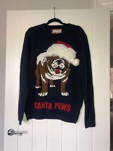 Tesco F&F Navy Blue Santa Paws Dog British Bulldog Christmas Jumper (L)