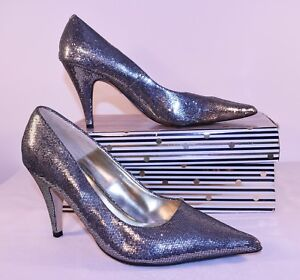Next Silver Mermaid Court Shoes Heels Evening Size 4 EUR 37 Sparkly Spring AO