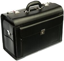 New High Quality Leather Bag Men Women Black Business Pilot Case Carry Bag 6913