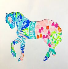 New Horse pillow made with LILLY PULITZER PB Mermaid fabric