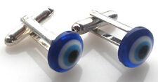 GORGEOUS HANDMADE BLUE 'LUCKY EYE' CUFFLINKS + FREE GIFT BAG