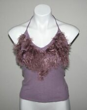 NWT LAUNDRY by SHELLI SEGAL Womens Purple Lambswool Angora Blend Halter Top S