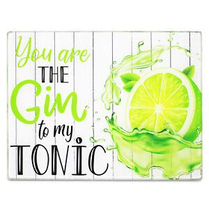 Kitchen Bar Lime Glass Worktop Saver Non-Slip Chopping Cutting Board Gin Tonic