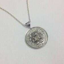 Sterling Pendant, Roses, Love, Medallion, Jewelry (Bin # 67)