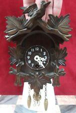 Vintage Miniature German Carved Wood Cuckoo Clock W/ Key & Pendulum Runs