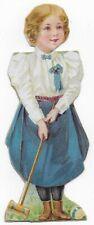 1890's Enameline Wellesley College Girl Croquet Player Victorian Trade Card