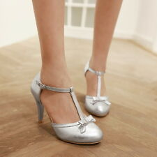 Womens Girls Bowtie T Strap Bar Lolita Silver Gold Mary Janes Spring Pumps Shoes