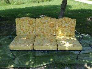 1960' woodard wrought iron patio  furniture 2 couch 3 chairs  2 glass top table