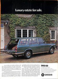 Original Vintage 1970s' Chrysler Simca Estate Advert Shooting Times April 1971
