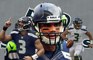 Seattle Seahawks Lithograph print of  Russell Wilson 17 x 11