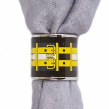 55274 auth HERMES black yellow petrol ROCABAR enamel Scarf Ring