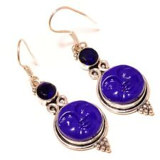 Carved Moon Face with Tanzanite Gemstone silver plated Handmade Carving Earrings
