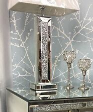 "Sparkly Silver Mirror Diamond Glitz Crushed Glass Crystal 13"" Table Lamp"