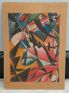 **Vintage Russian Abstract Expressionist Colored Pencil Graphic Drawing**