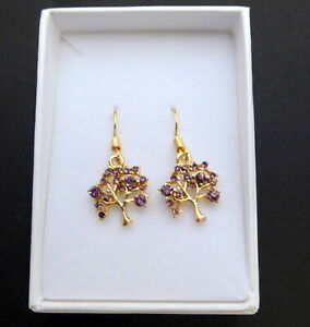 Tree of Life Crystal Gold plated Earring in gift box Mother's Day Christmas etc