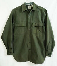 L.L. Bean Dark Olive Green Heavy Cotton Button Down Work Shirt size Small